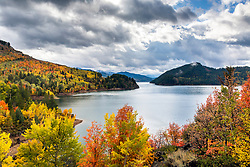 Autumn storm at Palisades Lake in Swan Valley Idaho.   Banner color in the fall of 2017