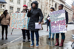 London, UK. 4th February, 2019. Eulalee, a Jamaican grandmother fighting for the Windrush Scheme to be widened to include the descendants and close family of the Windrush Generation, addresses a protest organised by Movement for Justice and other campaign groups opposed to the Government's hostile environment policy outside the Jamaican High Commission against plans by the Home Office and Jamaican government to recommence mass deportation charter flights on 6th February. The enforced removals are reported to include people who came to the UK as children and parents with British children and the deportation flight would be the first since March 2017 and the Windrush scandal.