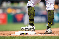 May 28, 2018 - Pittsburgh, PA, U.S. - PITTSBURGH, PA - MAY 28:   Pittsburgh Pirates first baseman Sean Rodriguez (3) wears patriotic socks and shoes for Memorial Day during an MLB game between the Pittsburgh Pirates and Chicago Cubs on May 28, 2018 at PNC Park in Pittsburgh, PA. (Photo by Shelley Lipton/Icon Sportswire) (Credit Image: © Shelley Lipton/Icon SMI via ZUMA Press)