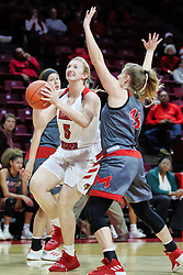 NORMAL, IL - December 16: Lexy Koudelka gets a good look at the hoop after getting inside defender Stephanie Sherwood during a college women's basketball game between the ISU Redbirds and the Maryville Saints on December 16 2018 at Redbird Arena in Normal, IL. (Photo by Alan Look)