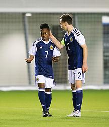Scotland's Karamoko Dembele with Scotland's Chris Hamilton. . Scotland 2 v 2 Wales, Under 16 Victory Shield, Oriam 1/11/2016.
