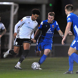 TELFORD COPYRIGHT MIKE SHERIDAN Dom McHale of Telford during the Vanarama Conference North fixture between AFC Telford United and Chorley at the New Bucks Head Stadium on Tuesday, November 17, 2020.<br /> <br /> Picture credit: Mike Sheridan/Ultrapress<br /> <br /> MS202021-044