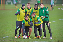 16.12.2013, Trainingsgelaende, Bremen, GER, 1. FBL, Werder Bremen, Training, im Bild 16 12 2013, Weserstadion, Bremen, GER, 1 FBL, Training SV Werder Bremen, im Bild, von links, Aaron Hunt (Bremen #14), Franco Matías Di Santo / Franco Matias Di Santo (SV Werder Bremen #9), Tom Trybull (Bremen #25), Özkan / Oezkan Yildirim (Bremen #32), Assani Lukimya (Bremen #5), Raphael Wolf (SV Werder Bremen #20) posieren nach einer Trainingseinheit siegreich // 16 12  2013, Weserstadion, Bremen, GER, 1  FBL, Training SV Werder Bremen, im Bild, von links, Aaron Hunt (Bremen #14), Franco Matías Di Santo / Franco Matias Di Santo (SV Werder Bremen #9), Tom Trybull (Bremen #25), Özkan / Oezkan Yildirim (Bremen #32), Assani Lukimya (Bremen #5), Raphael Wolf (SV Werder Bremen #20) posieren nach einer Trainingseinheit siegreich during a Trainingssession of German Bundesliga Club Werder Bremen at the Trainingsgelaende in Bremen, Germany on 2013/12/16. EXPA Pictures © 2013, PhotoCredit: EXPA/ Andreas Gumz<br /> <br /> *****ATTENTION - OUT of GER*****