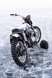 Aleksei Kalabin's Kawasaki w650 racer during the Baikal Mile Ice Speed Festival. Maksimiha, Siberia, Russia. Saturday, February 29, 2020. Photography ©2020 Michael Lichter.