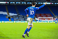 Cardiff City's Kieffer Moore (10) celebrates scoring his side's first goal during the EFL Sky Bet Championship match between Cardiff City and Millwall at the Cardiff City Stadium, Cardiff, Wales on 30 January 2021.