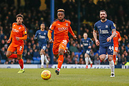Luton Town midfielder Kazenga LuaLua (25) chases possession during the EFL Sky Bet League 1 match between Southend United and Luton Town at Roots Hall, Southend, England on 26 January 2019.