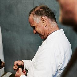 Xavier Desforges and his father at Maison Caulieres' farm. Dolus-le-Sec, France. October 7, 2019.