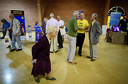 ©  London News Pictures. 17/09/2016. Bournemouth, UK. Party supporters look at expo stands at Day 2 of the 2016 UKIP Autumn Conference, held at the Bournemouth International Centre in Bournemouth, Dorset. On Friday, the party elected Diane James as their new leader, following Nigel Farage resignation after the UK voted to leave the EU in a referendum..  Photo credit: Ben Cawthra/LNP