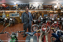 Kelly Modlin at Kersting's Cycle Center & Museum for a hosted lunch during the Motorcycle Cannonball coast to coast vintage run. Stage 5 (229 miles) from Bowling Green, OH to Bourbonnais, IL. Wednesday September 12, 2018. Photography ©2018 Michael Lichter.