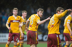 Motherwell's Mark O'Brien  not happy with team mate Motherwell's Josh Law. <br /> Dundee 4 v 1 Motherwell, SPFL Premiership played 10/1/2015 at Dundee's home ground Dens Park.