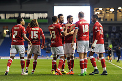 Derrick Williams of Bristol City celebrates with his team mates after scoring - Mandatory byline: Dougie Allward/JMP - 07966 386802 - 20/10/2015 - FOOTBALL - American Express Community Stadium - Brighton, England - Brighton v Bristol City - Sky Bet Championship