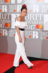 Myleene Klass attending the BRIT Awards 2017, held at The O2 Arena, in London.<br /><br />Picture date Tuesday February 22, 2017. Picture credit should read Doug Peters/ EMPICS Entertainment. Editorial Use Only - No Merchandise.