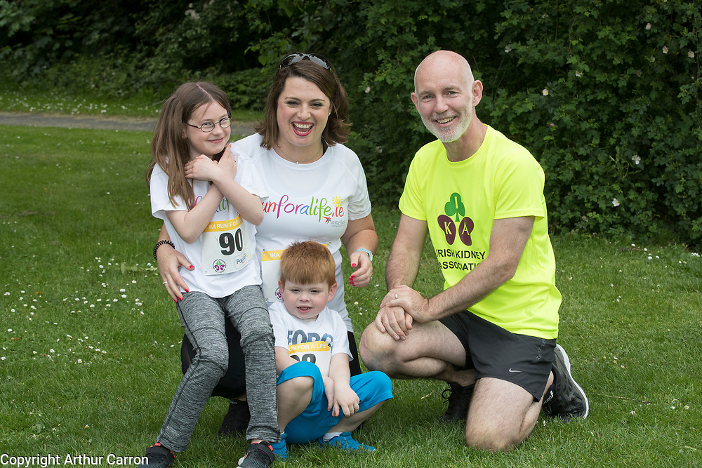 NO FEE PICTURES                                                                                                                                                RTE's Ray D'Arcy was joined by hundreds of people from throughout the country who donned their running shoes at the weekend to support the Irish Kidney Association's Run for a Life. The family fun run, which is now in its eleventh year and celebrates organ donation and transplantation, was held at Corkagh Park, Clondalkin, Dublin 22 on Saturday 25th May. The 'Run for a Life' was open to people of all ages and levels of fitness who could choose to walk, jog or run in the event, which offered prizes for winners in a choice of chip timed 2.5km, 5km and 10km distances. www.runforalife.ie. Pictured are : Ray D'Arcy with Sam Kinihan, age 5, Bladoyle, who will receive his fathers kidney next month after being on dialysis since he was a baby, his mum Chloe and sister Ali. Picture: Arthur Carron
