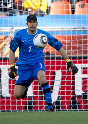 Samir Handanovic of Slovenia during the Group C first round 2010 FIFA World Cup South Africa match between Algeria and Slovenia at Peter Mokaba Stadium on June 13, 2010 in Polokwane, South Africa.  Slovenia defeated Aleria 1-0. (Photo by Vid Ponikvar / Sportida)