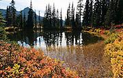 The Tatoosh Range reflects in one of the unnamed tarns (mountain ponds) near Faraway Rock on the Lakes Trail, Mazama Ridge, near Paradise, Mount Rainier National Park, Washington, USA.