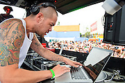 WASHINGTON, DC - August 11th, 2012 - Noted local DJ Jesse Tittsworth drew one of the day's largest crowds at the inaugural Trillectro Festival at the Half Street Fairgrounds in Washington, D.C. The festival was a combination of hip-hop and dance acts, bringing together fans of both genres.  (Photo by Kyle Gustafson/For The Washington Post)