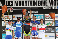 CYCLING - UCI WORLD CUP MOUNTAIN BIKE 2012 - LA BRESSE (FRA) - 19-20/05/2012 - PHOTO PATRICK PICHON / DPPI - ELITE WOMEN - PODIUM / CATHARINE PENDREL (CAN) / 4TH - KATHERINA NASH (CZE) / 2ND - GUNN-RITA DAHLE FLESJAA (NOR) / WINNER - JULIE BRESSET (FRA) / 3RD - MAJA WLOSZCZOWSKA (POL) / 5TH