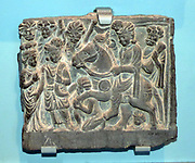 The great departure of Buddha.  AD100-300 Ancient Gandhara, Pakistan, Schist.  Prince Siddhartha Gautama (the Buddha to be) is shown as he departs secretly at night from his father's city of Kapilavastu. He rides his horse Kanthaka, whose hooves are held off the ground by the gods.