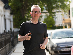 © Licensed to London News Pictures. 27/05/2019. London, UK. Secretary of State for Environment, Food and Rural Affairs, MICHAEL GOVE MP, is seen jogging near his London home today. Mr Gove officially announced that he will run for leadership of the Conservative Party yesterday following Prime Minister, Theresa May's resignation last week. Photo credit: Vickie Flores/LNP