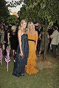 Olympia and Fiona Scarry, The Summer Party sponsored by Yves St. Laurent. Serpentine Gallery. 11 July 2006. . ONE TIME USE ONLY - DO NOT ARCHIVE  © Copyright Photograph by Dafydd Jones 66 Stockwell Park Rd. London SW9 0DA Tel 020 7733 0108 www.dafjones.com