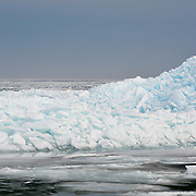 The Blue Ice Of Lake Huron In The Straits Of Mackinac As Viewed From Mackinac City.