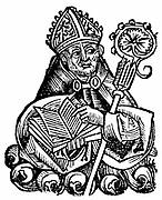 Albertus Magnus (c1200-1280) Italian Dominican friar called 'Doctor Universalis'. Bishop of Ratisbon, 1260, holding open book.  Melded theology and Aristotelianism. Woodcut from Hartmann Schedel 'Liber chronicarum mundi' (Nuremberg Chronicle) 1493