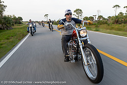 Xavier Muriel riding Grace, his Harley-Davidson Pan-Shovel custom on a ride to Cape Canaveral during Daytona Beach Bike Week, FL. USA. Monday, March 11, 2019. Photography ©2019 Michael Lichter.