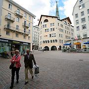 Piazza del municipio a St. Moritz..City hall square in St. Moritz