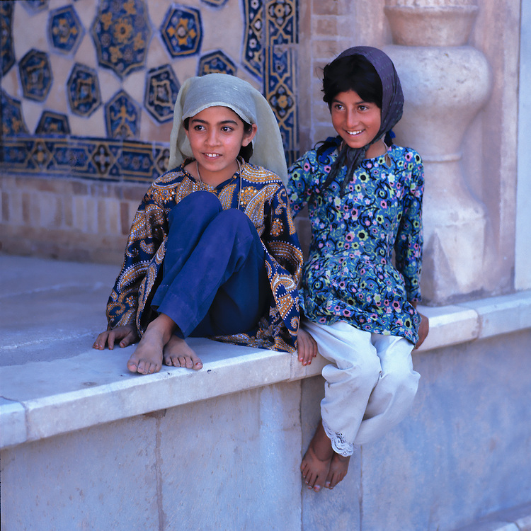 Young girls pose at the Friday Mosque, or Masjid-i-Jami, in Herat, Afghanistan.