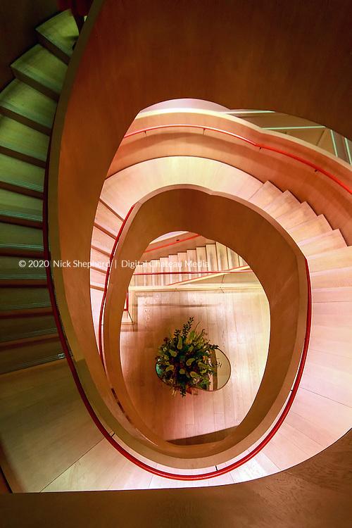 Stairwell at Coworth Park Hotel, Berkshire.
