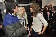 RONNIE WOOD; NICOLA SARGEANT; ABIGAIL ALATHEA, Faces, Time and Places. Symbolic Collection & Ronnie Wood private view, Cork St. London. 8 November 2011.<br /> <br /> <br />  , -DO NOT ARCHIVE-© Copyright Photograph by Dafydd Jones. 248 Clapham Rd. London SW9 0PZ. Tel 0207 820 0771. www.dafjones.com.