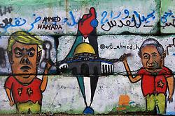 January 2, 2018 - Gaza, Palestinian Territories, Palestine - A mural on the wall of the seaport Gaza, Palestine shows US President Trump, Israeli Prime Minister Netanyahu, a map of Palestine and Jerusalem. (Credit Image: © Momen Faiz/NurPhoto via ZUMA Press)