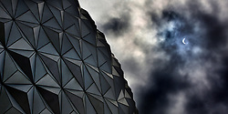 Rain clouds obsure the eclipse tracking over Spaceship Earth at Epcot at Walt Disney World in Lake Buena Vista, Fla., on Monday, Aug. 21, 2017. The eclipse was partially blocked as it approached totality because of the weather in the area. Photo by Joe Burbank/Orlando Sentinel/TNS/ABACAPRESS.COM