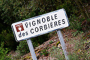 Vignoble des Corbieres, with bullet hole. Les Corbieres. Languedoc. France. Europe.
