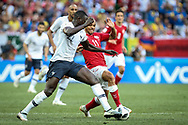 Benjamin MENDY of France, Martin BRAITHWAITE of Denmark during the 2018 FIFA World Cup Russia, Group C football match between Denmark and France on June 26, 2018 at Luzhniki Stadium in Moscow, Russia - Photo Thiago Bernardes / FramePhoto / ProSportsImages / DPPI