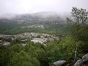 Preikestolen, or Pulpit Rock, above Lysefjorden, Forsand, Rogaland, Norway.