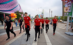NANNING, CHINA - Monday, March 26, 2018: Wales' goalkeeper Wayne Hennessey and Gareth Bale during a team walk near the Wanda Realm Resort on day seven of the 2018 Gree China Cup International Football Championship ahead of the final against Uruguay. (Pic by David Rawcliffe/Propaganda)