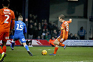 Luton Town midfielder Luke Berry (8) scores his goal during the EFL Sky Bet League 1 match between Luton Town and Peterborough United at Kenilworth Road, Luton, England on 19 January 2019.