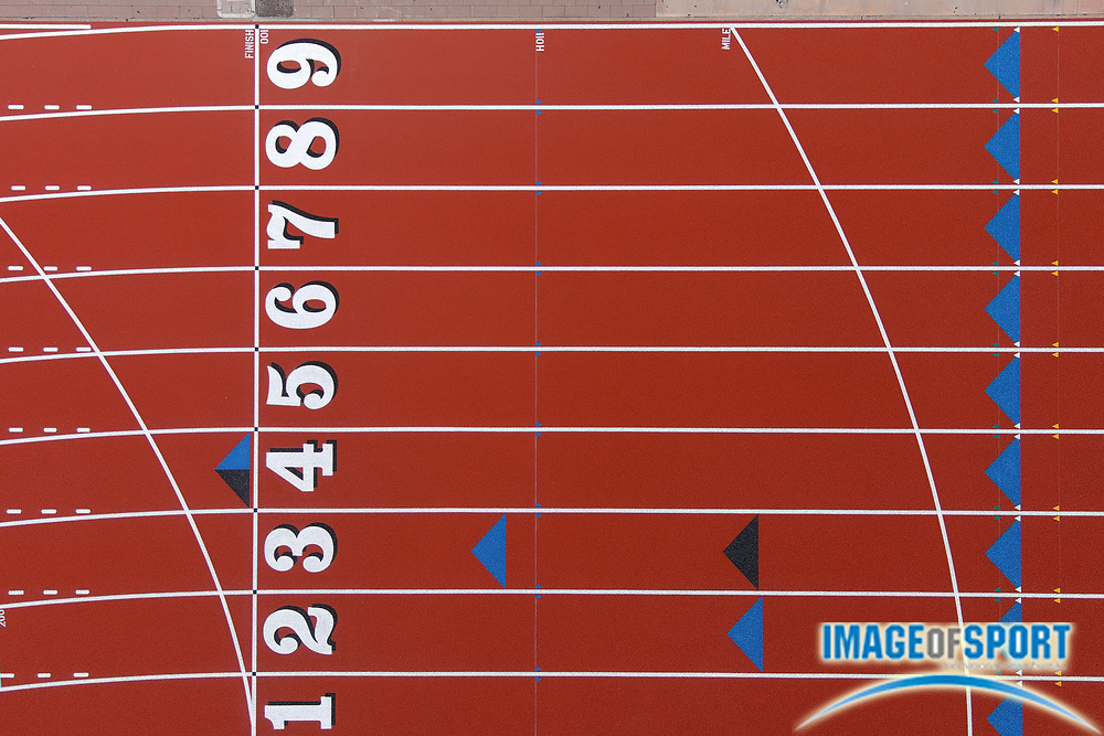 General overall aerial view of the track lanes at Salter Stadium at Arcadia High School, the site of the annual Arcadia Invitational track and field meet, Sunday, Sept. 20, 2020, in Arcadia, Calif. The Arcadia Invitational has produced 32 national records and 179 U.S. Olympians since the meet's inception in 1968. It is the largest outdoor high school meet in the United States, with more than 4,000 high school athletes competing largest high school sporting event in the nation that is hosted on a high school campus.