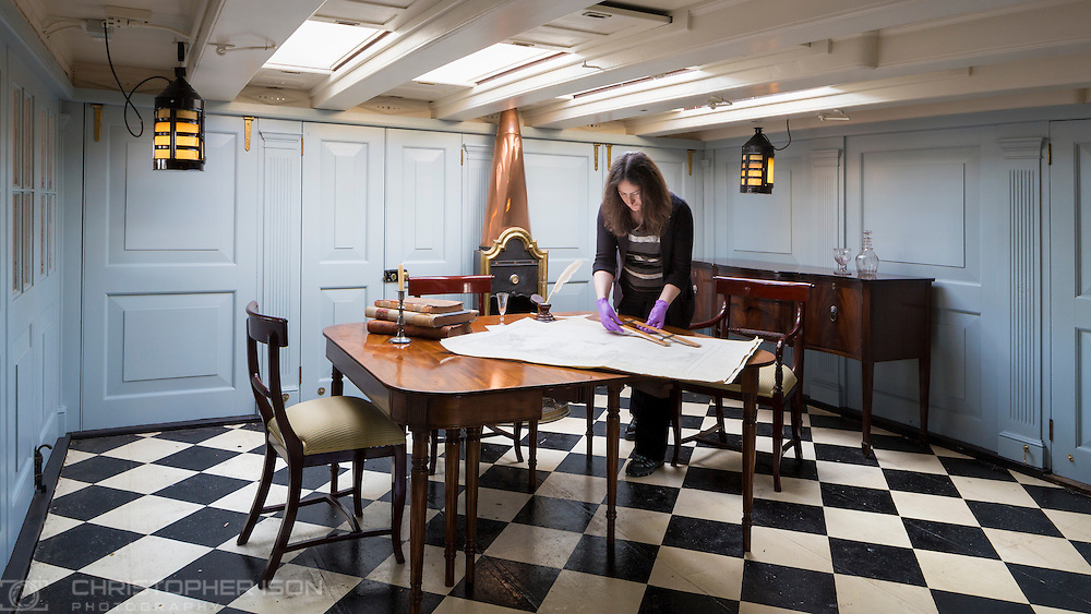 Publicity image for the National Museum of the Royal Navy in Portsmouth. Image shows Captain Hardy's Day Cabin aboard HMS Victory.<br /> Picture date: Thursday March 17, 2016.<br /> Photograph by Christopher Ison ©<br /> 07544044177<br /> chris@christopherison.com<br /> www.christopherison.com
