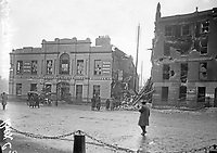 Liberty Hall, the ITGWU headquarters on Beresford Place. Having been the assembly point for the Irish Volunteers and Irish Citizen Army just prior to the outbreak of the Rising on Easter Monday, it was badly  damaged by shellfire later in the week, some of which came from the patrol vessel Helga. (Part of the Independent Newspapers Ireland/NLI Collection)