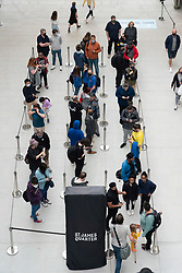 Edinburgh, Scotland, UK. 24 June 2021. First images of the new St James Quarter which opened this morning in Edinburgh. The large retail and residential complex replaced the St James Centre which occupied the site for many years. Pic; Large queues formed outside Lego store.  Iain Masterton/Alamy Live News