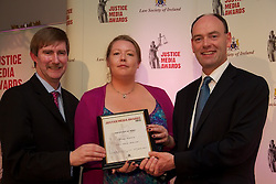 The Law Society of Ireland annual Justice Media Awards 2012. Thrusday 7th June 2012...The Law Society of Ireland (Thursday, 7th June, 2012) announced the winners of its annual Justice Media Awards 2012. ..These awards, which are 20 years in existence, focus on published works or broadcasts that have helped to inform and educate Irish citizens on the role of law in society. The aim is to give national recognition to published works or broadcasts that: ..1).Promote the highest standards in legal journalism;.2).Foster greater public understanding of the law, the legal system or any specific legal issue;.3).Inform and educate citizens as to the roles in society of the law, the courts, law enforcement agencies and the legal profession;.4).Disclose practices or procedures needing reform so as to encourage the development and modernisation of Irish laws, courts and law enforcement agencies; and/or.5).Assist the legal profession, the judiciary, and all others involved in the administration of justice in attaining the highest professional standards. ..The Law Society wholeheartedly congratulates all of today's winners of 'Justice Media Awards' and 'Certificates of Merit'. ..This broad-sweeping series took an extremely critical look at the legal system. It was informed and informative and while critical of many aspects of the legal system, was balanced in its approach. It succeeded admirably in informing the general public about the most salient challenges facing the legal system today.?.The Law Society wholeheartedly congratulates all of today's winners of 'Justice Media Awards' and 'Certificates of Merit'. .Trudy Waters of Clare FM for her report on the 'Clare school abuse case'.....Pictured at the awards.Ken Murphy, Ken Murphy, Director General of the Law Society of Ireland..Trudy Waters of Clare FM for her report on the 'Clare school abuse case'...President of Law Society of Ireland, Donald Binchy....What the judges said: .?Trudy Waters is being acknowledged today for an