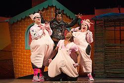 """© Licensed to London News Pictures. 05/08/2015. London, UK. L-R: Daniel Buckley, Simon Webbe, Taofique Folarin and Leanne Jones. West End premiere of the children's story """"The 3 Little Pigs"""" at the Palace Theatre starring Simon Webbe as Wolf, Alison Jiear as Mother, Leanne Jones as Bee, Taofique Folarin as Bar and Daniel Buckley as Q. The show runs from 5 August to 6 September 2015. Photo credit: Bettina Strenske/LNP"""