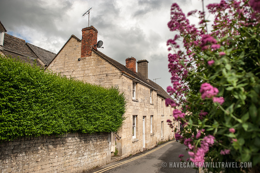 A street in the village of Painswick in the Cotswolds, United Kingdom.
