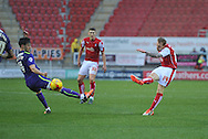 Chris Burke of Rotherham United takes a shot at goal  during the Sky Bet Championship match between Rotherham United and Charlton Athletic at the New York Stadium, Rotherham, England on 30 January 2016. Photo by Ian Lyall.