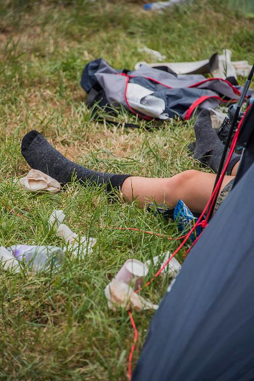 The morning after the night before - The 2017 Glastonbury Festival, Worthy Farm. Glastonbury, 25 June 2017