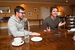 Two stars of The Inbetweeners Movie, Joe Thomas and Simon Bird, at a press photo-call on Skye before a sold-out screening of the new film in the island's Gaelic college.