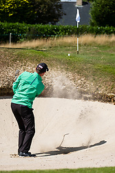 Gleneagles, Scotland, UK; 9 August, 2018.  Day two of European Championships 2018 competition at Gleneagles. Men's and Women's Team Championships Round Robin Group Stage - 2nd Round. Four Ball Match Play format. Michael Hey plays out of bunker on the 12th hole