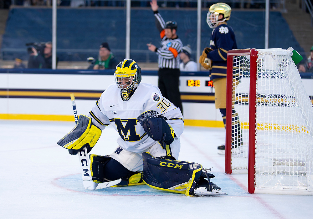 January 05, 2019:  Michigan goaltender Hayden Lavigne (30) makes the save during NCAA Hockey game action between the Michigan Wolverines and the Notre Dame Fighting Irish at Notre Dame Stadium in South Bend, Indiana.  Michigan defeated Notre Dame 4-2.  John Mersits/CSM